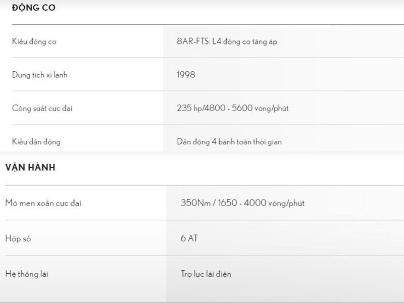 Bảng thông số kỹ thuật của xe Lexus NX
