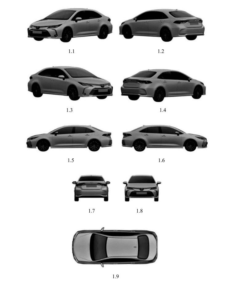 Hình ảnh đăng ký bản quyền kiểu dáng của Toyota Corolla Altis thế hệ mới trên trang web của Cục Sở hữu Trí tuệ Việt Nam.
