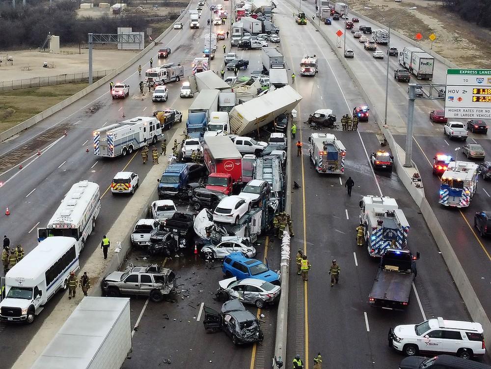 Hiện trường vụ tai nạn nhìn từ trên cao