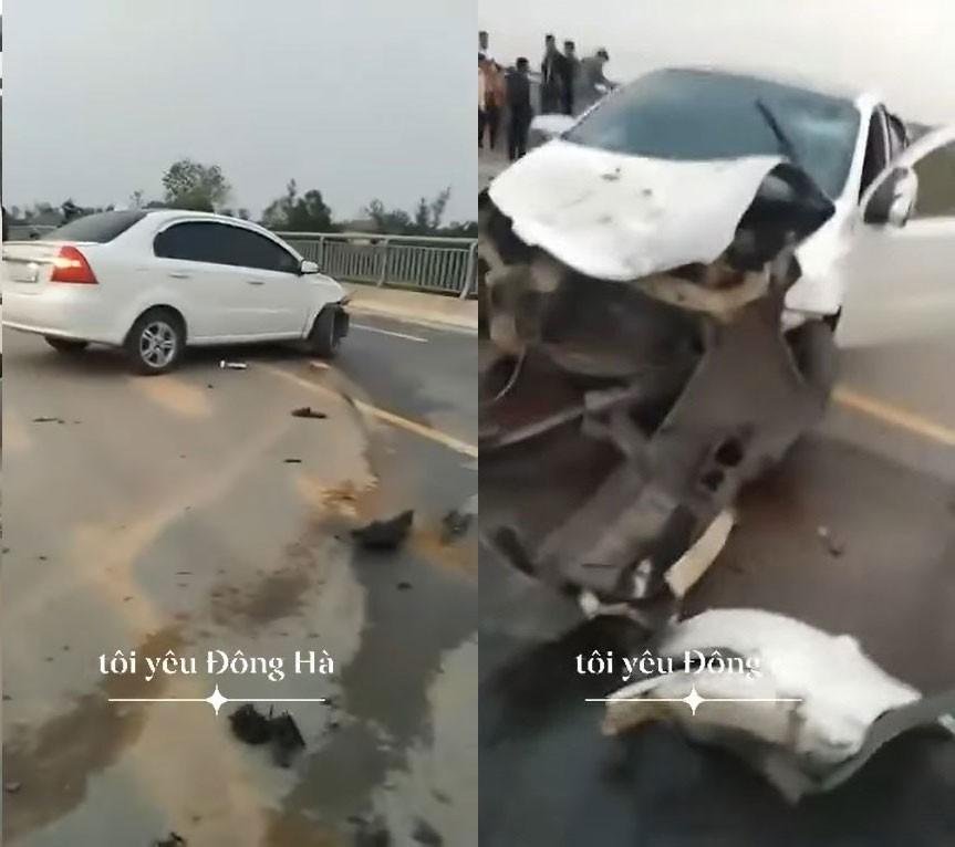 Chiếc ô tô Chevrolet Aveo tại hiện trường vụ tai nạn
