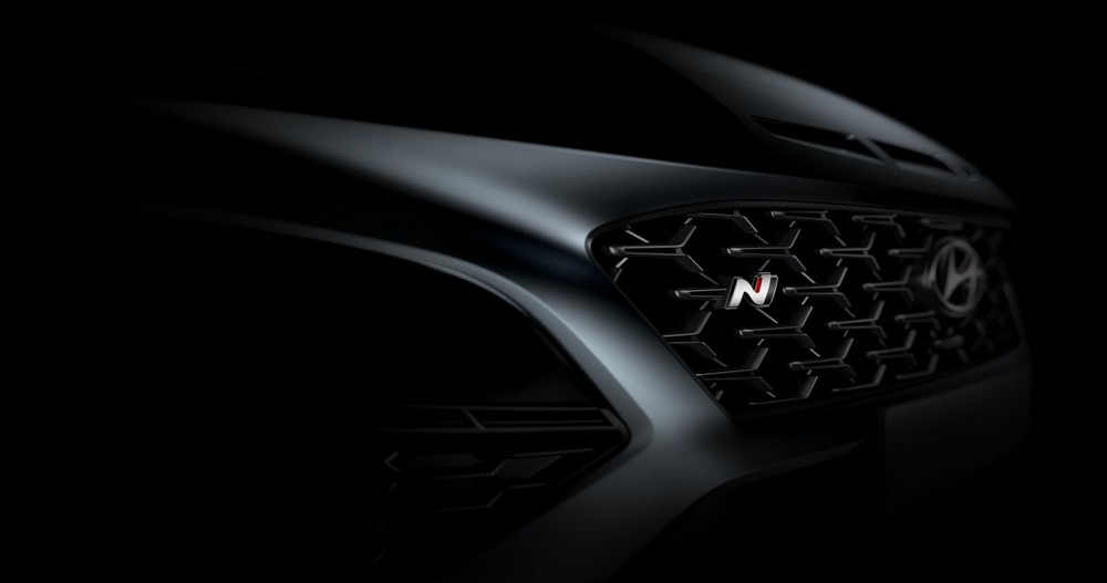 Lưới tản nhiệt với logo N của Hyundai Kona N 2021