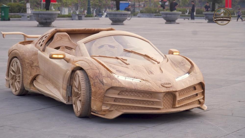 Chiếc Bugatti Centodieci bằng gỗ của ông trẻ tại Bắc Ninh