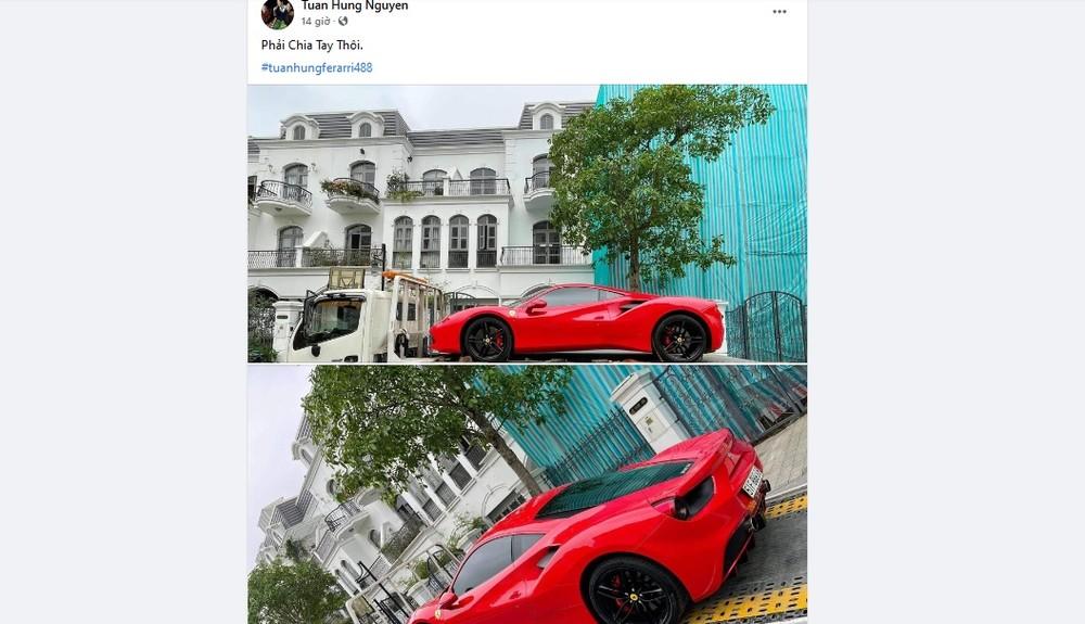 Tuấn Hưng chia sẻ mình mới bán siêu xe Ferrari 488 GTB