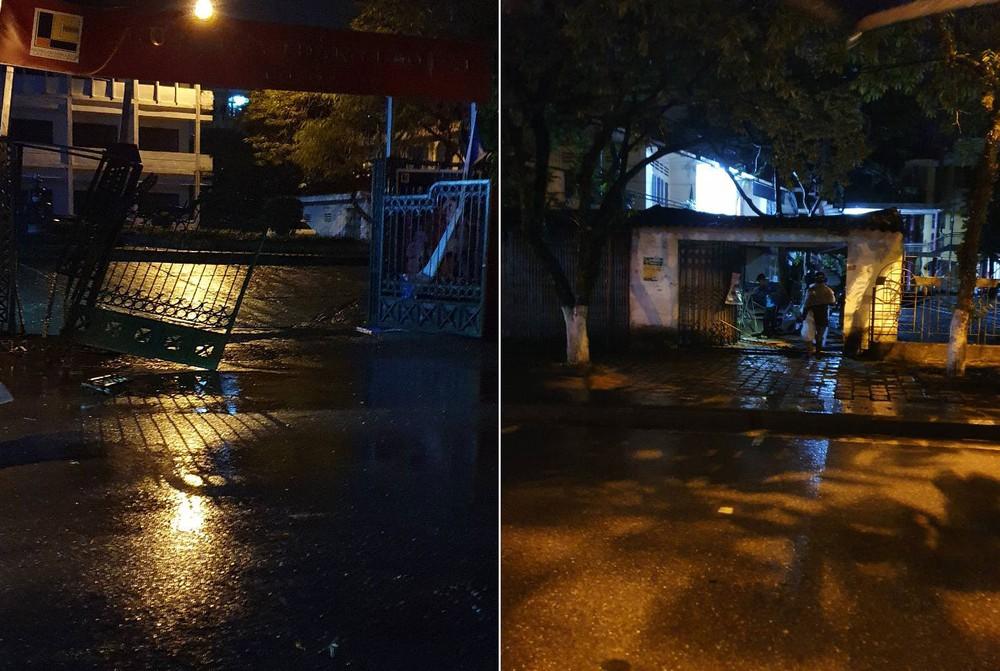 Chiếc ô tô Chevrolet Spark kéo đổ cổng trường Cao đẳng Lào Cai rồi đâm thủng tường ngôi nhà thuộc Cung Thiếu nhi