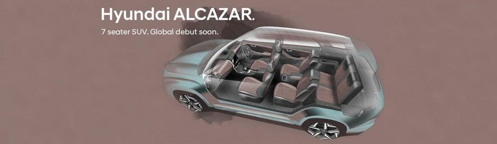 Hình ảnh phác họa nội thất của Hyundai Alcazar 2021 bản 6 chỗ