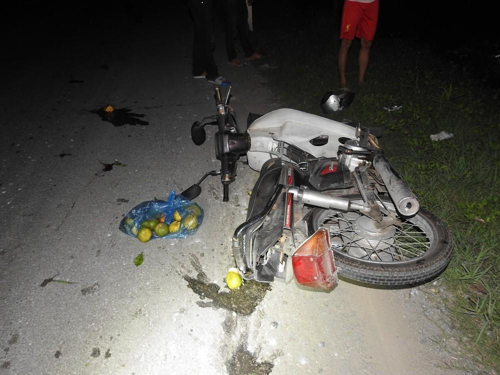 Xe máy của nạn nhân hư hỏng nặng