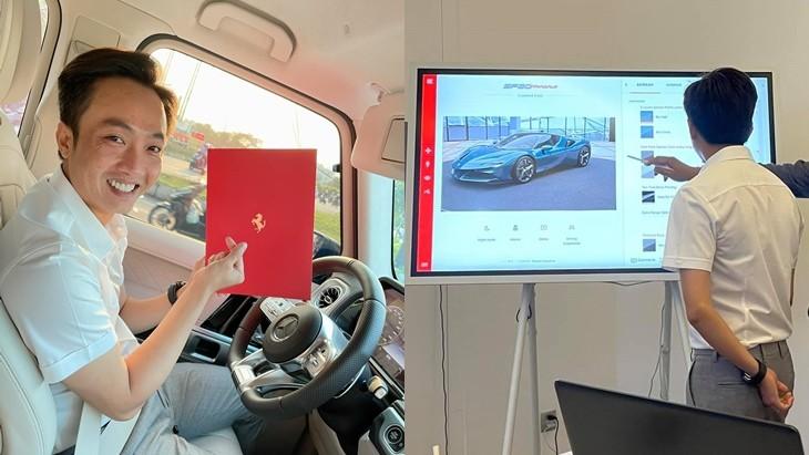 Còn đây là hình ảnh doanh nhân 8X hạnh phúc khi tự tay tuỳ chọn màu sơn cũng như nội thất cho siêu xe Ferrari SF90 Stradale đặt mua