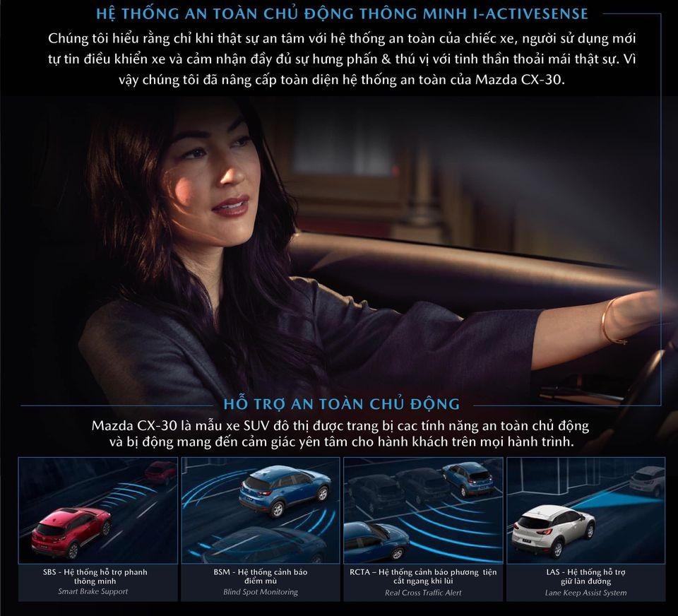 Ảnh chụp catalogue cho thấy Mazda CX-30 cũng được trang bị gói i-Activsense.