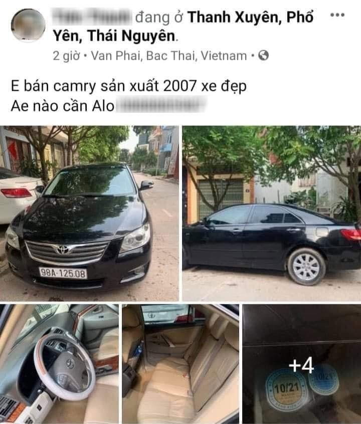 Chiếc Toyota Camry mới được rao bán trên mạng thì bị tai nạn