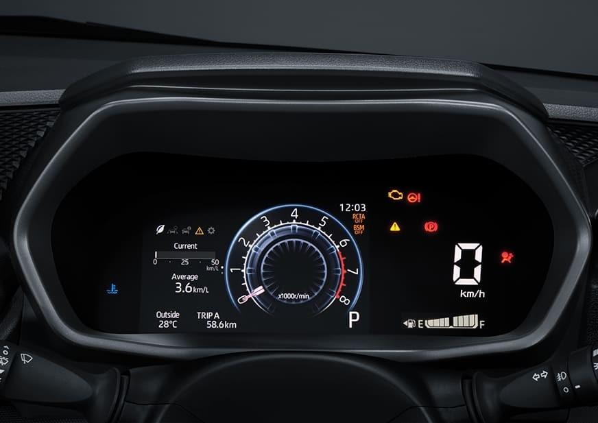 Bảng đồng hồ với màn hình đa thông tin 7 inch của Toyota Raize 2021