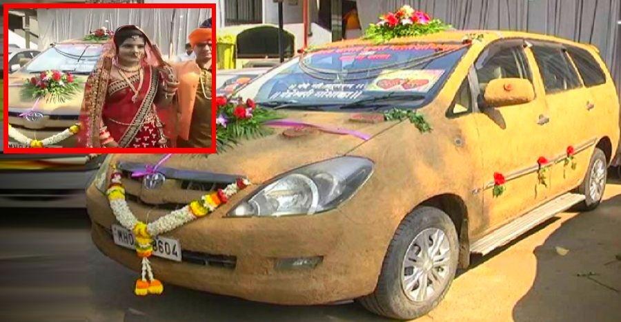 Chiếc Toyota Innova trét phân bò được dùng làm xe hoa trong đám cưới