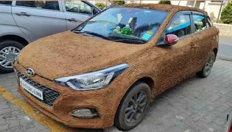 Chiếc ô tô Hyundai i20 Elite này được trét phân bò để... chống nóng