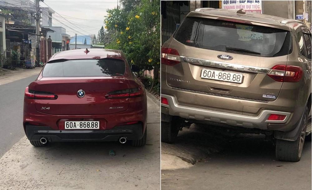 Hai chiếc BMW X4 (màu đỏ) và Ford Everest trùng biển số 60A-868.88