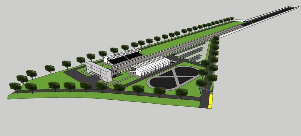 Hình ảnh phác thảo đường đua drag 400 m do Cường Đô-la tổ chức xây dựng ở Đồng Nai