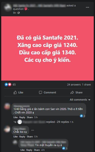 Tin đồn mới về giá bán của Hyundai Santa Fe 2021 sắp ra mắt Việt Nam.