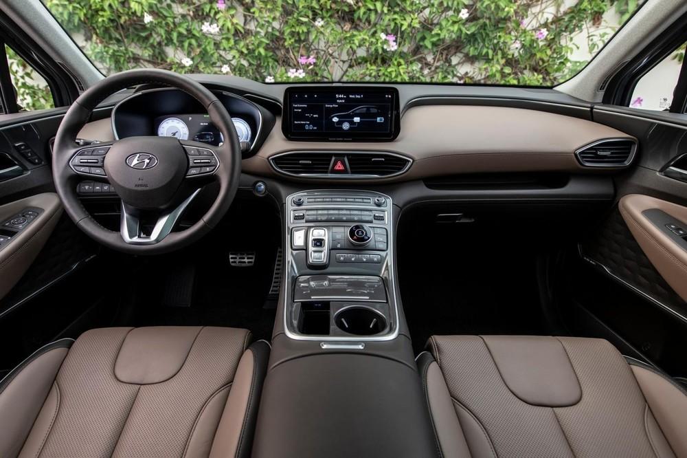 Tổng thể nội thất của Hyundai Santa Fe 2021.