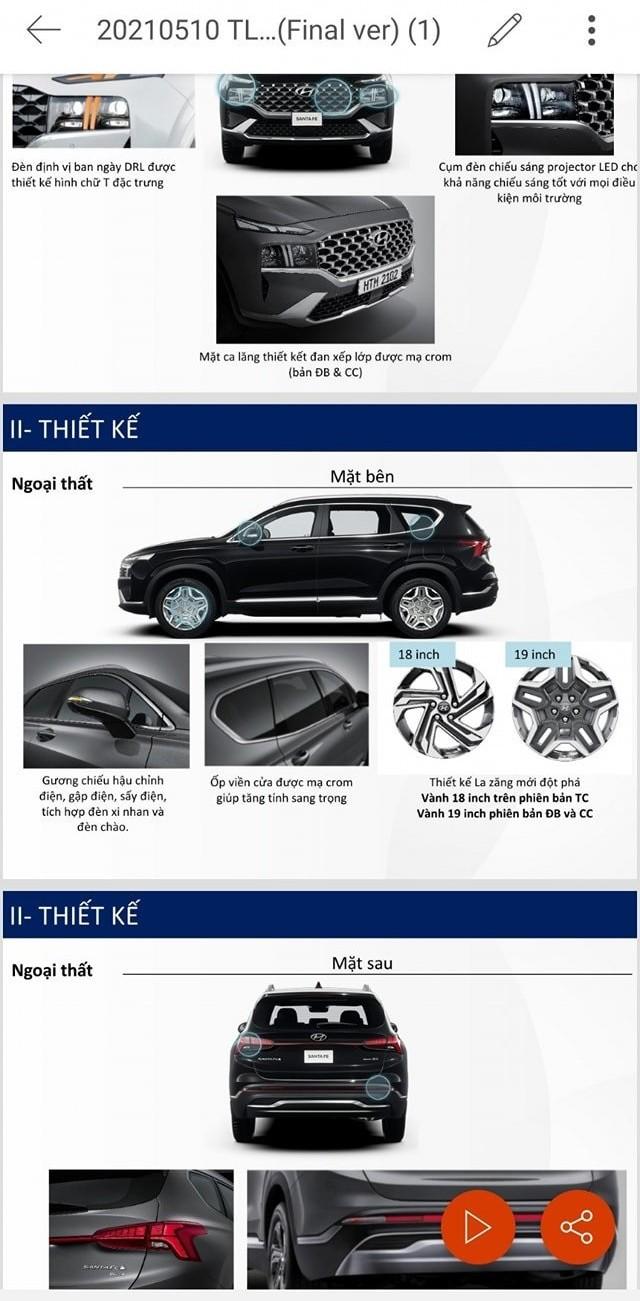 Thông số kỹ thuật được cho là của Hyundai Santa Fe 2021 sắp ra mắt Việt Nam.