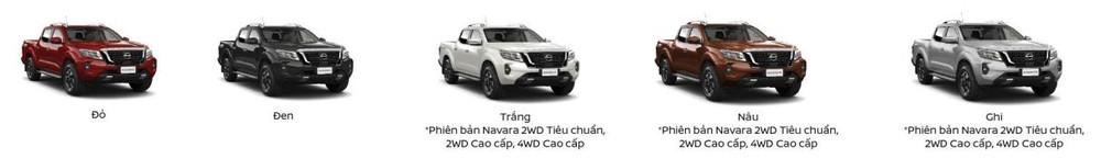Tùy chọn màu sắc trên 3 bản đầu của Nissan Navara.