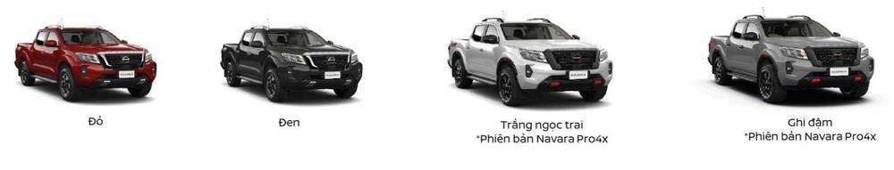Tùy chọn màu sắc trên bản Pro4X cao cấp nhất của Nissan Navara.