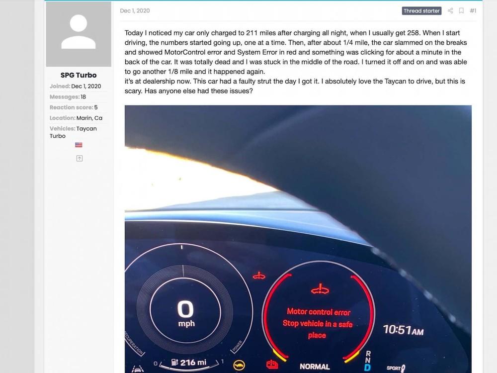Lỗi xe Porsche Taycan
