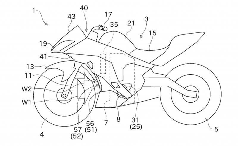 Bản vẽ về hệ thống lấy gió hoàn toàn mới của Kawasaki trên Sport bike