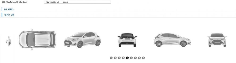 Toyota Yaris Hybrid 2021 được Toyota đăng ký bảo hộ kiểu dáng công nghiệp.