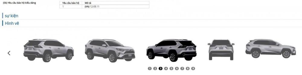 Toyota RAV4 đã được cấp bằng bảo hộ kiểu dáng từ năm 2019.