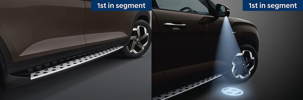 Hyundai Alcazar 2021 là xe đầu tiên trong phân khúc có bệ bước chân và đèn chờ dẫn đường