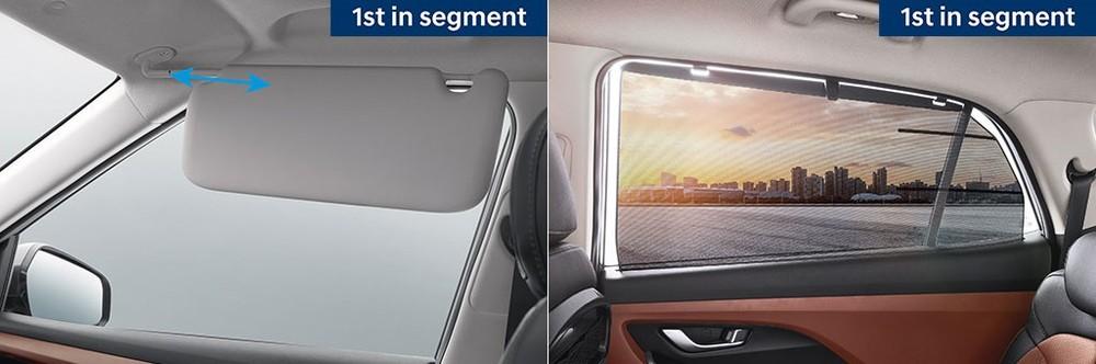 Tấm che nắng ở ghế trước và rèm phía sau của Hyundai Alcazar 2021