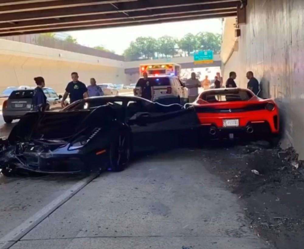 Hiện trường vụ tai nạn liên hoàn của 3 chiếc siêu xe Ferrari