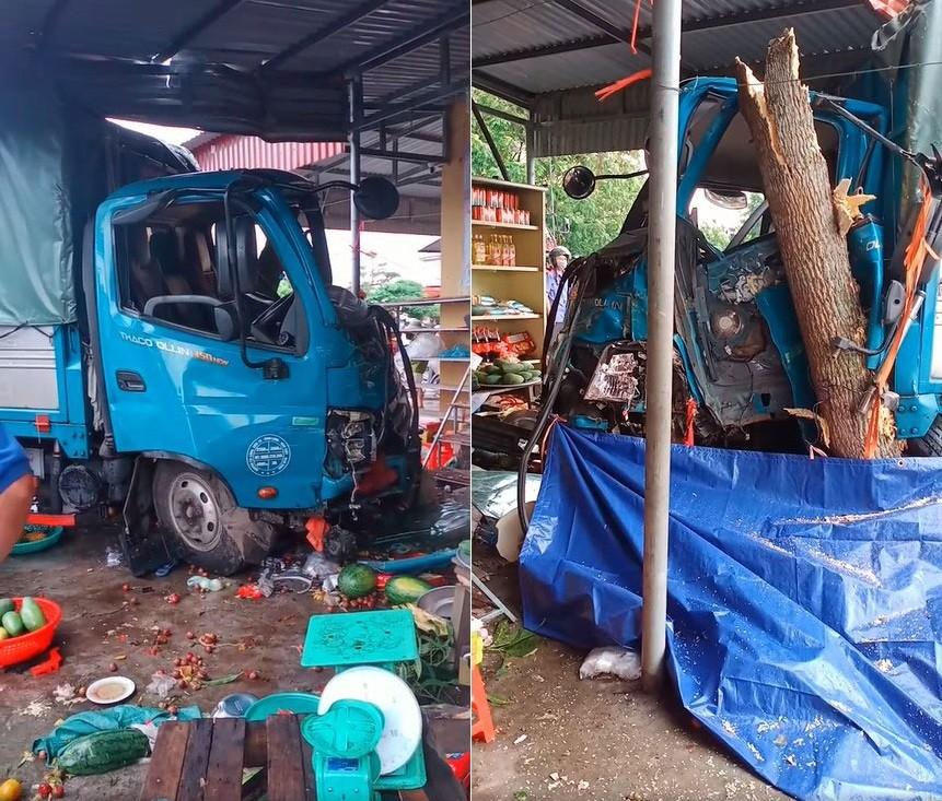 Chiếc ô tô tải hư hỏng nặng đầu xe