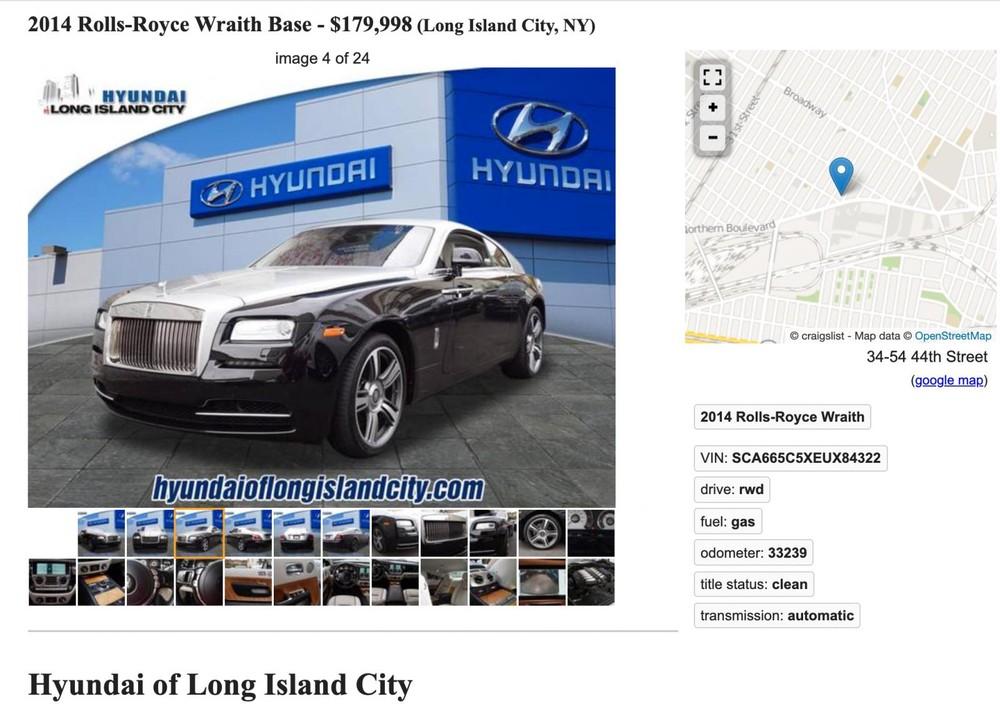Đại lý ô tô Hyundai Long Island rao bán chiếc Rolls-Royce Wraith