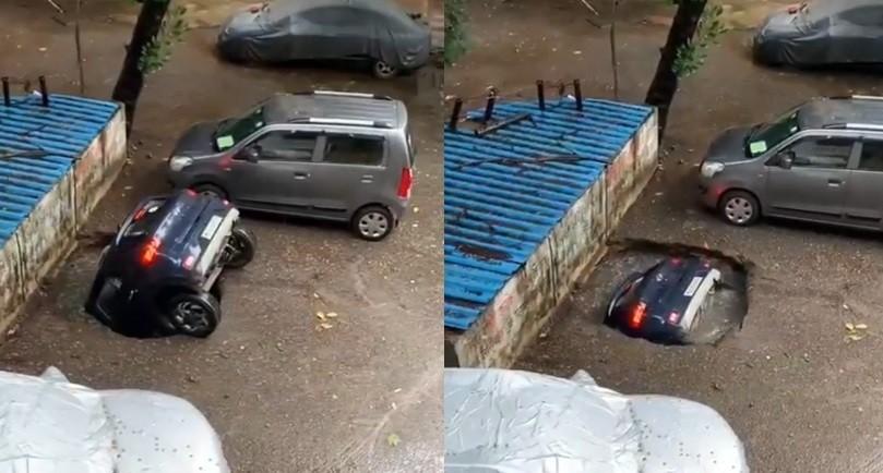 Chiếc Hyundai Venue cắm đầu xuống hố tử thần rồi chìm nghỉm trong 20 giây