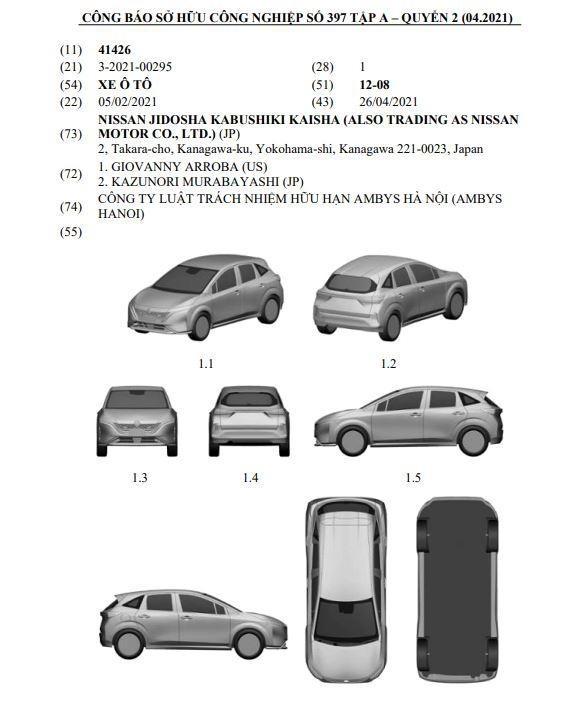 Mẫu xe được đăng ký bản quyền kiểu dáng công nghiệp tại Việt Nam hóa ra là Nissan Note Aura 2022