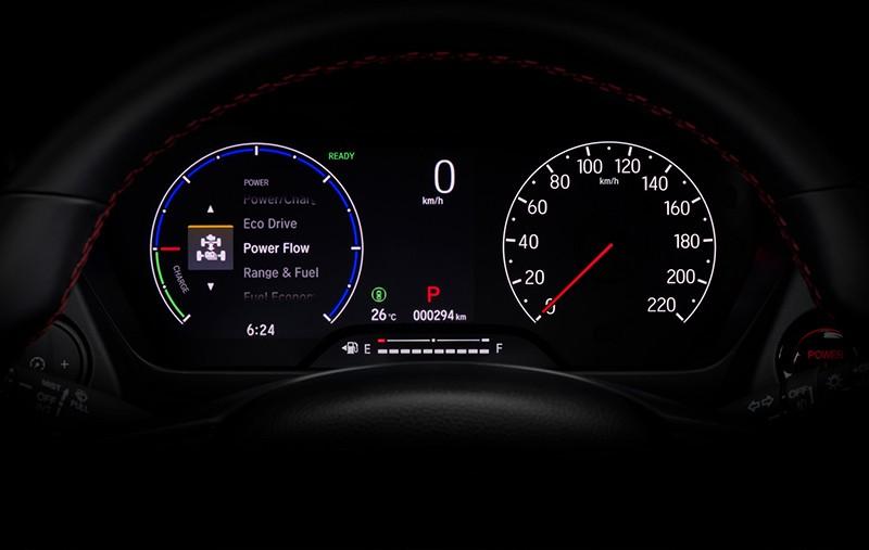 Honda City Hatchback e:HEV RS có bảng đồng hồ với màn hình 7 inch
