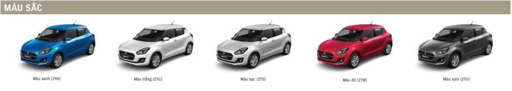 Màu sắc ngoại thất tùy chọn của Suzuki Swift
