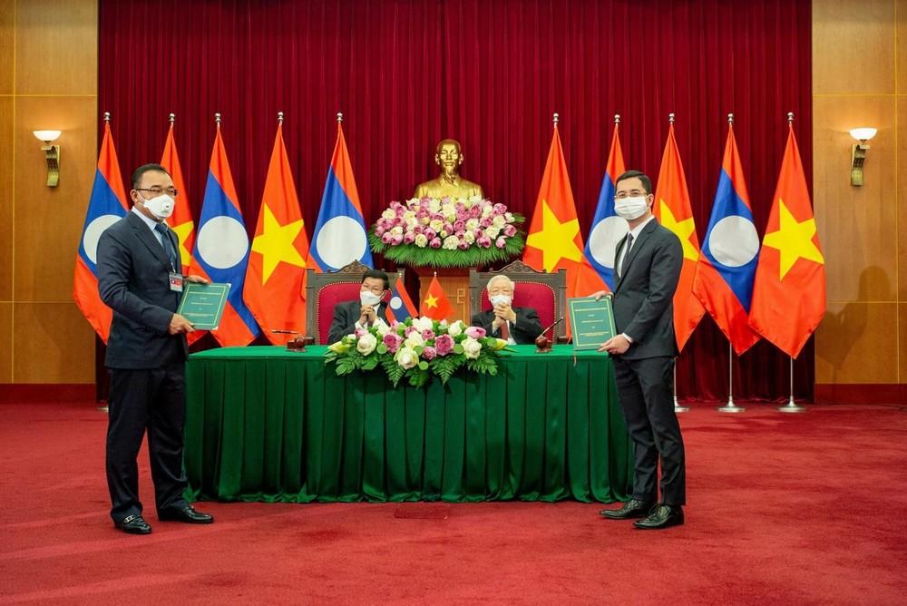 Lễ ký kết được diễn ra trong khuôn khổ chuyến thăm hữu nghị chính thức Việt Nam của Tổng Bí thư, Chủ tịch nước Lào Thongloun Sisoulith từ ngày 28 - 29/6/2021.