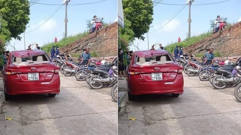 Chiếc Toyota Vios tại hiện trường vụ tai nạn