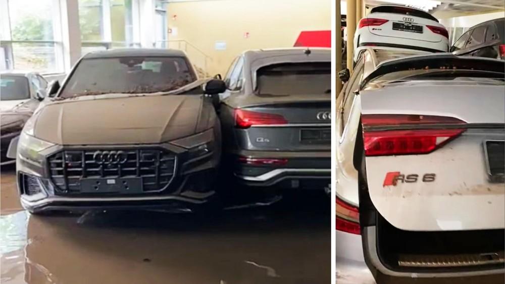 Sau khi nước rút đi, những chiếc Audi này đã bị hỏng nặng