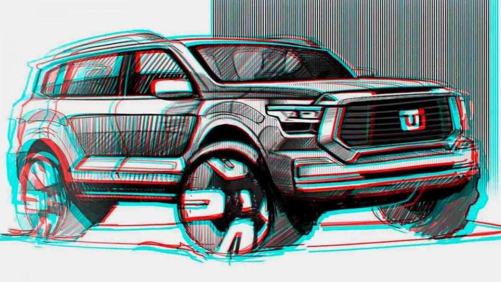 Hình ảnh phác họa thiết kế đầu xe của Great Wall Tank 600