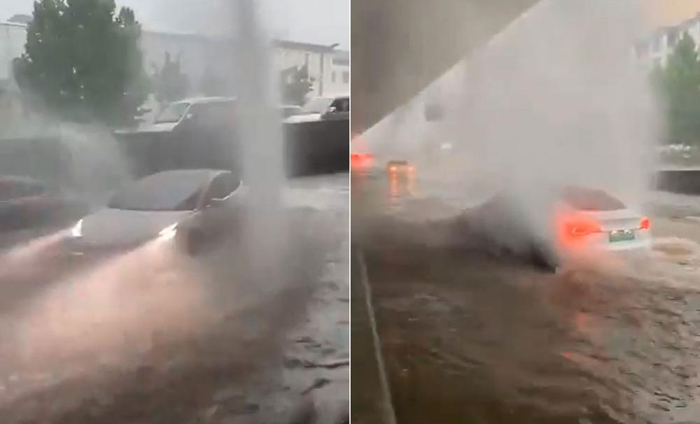 Chiếc Tesla Model 3 chạy trên đoạn đường ngập vì lũ lụt tại Trung Quốc