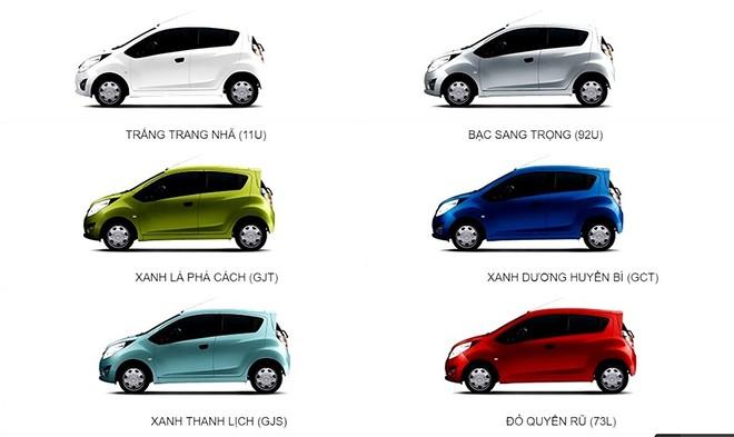Tùy chọn màu sắc ngoại thất của Chevrolet Spark