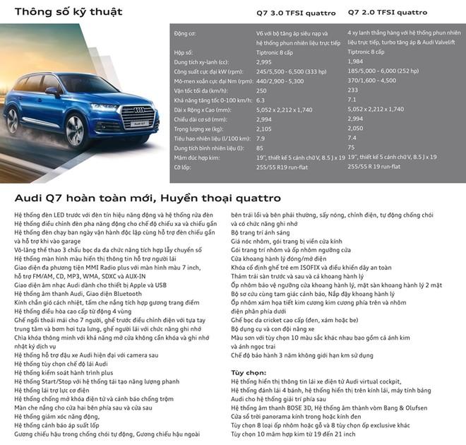 Thông số kĩ thuật của Audi Q7 2018