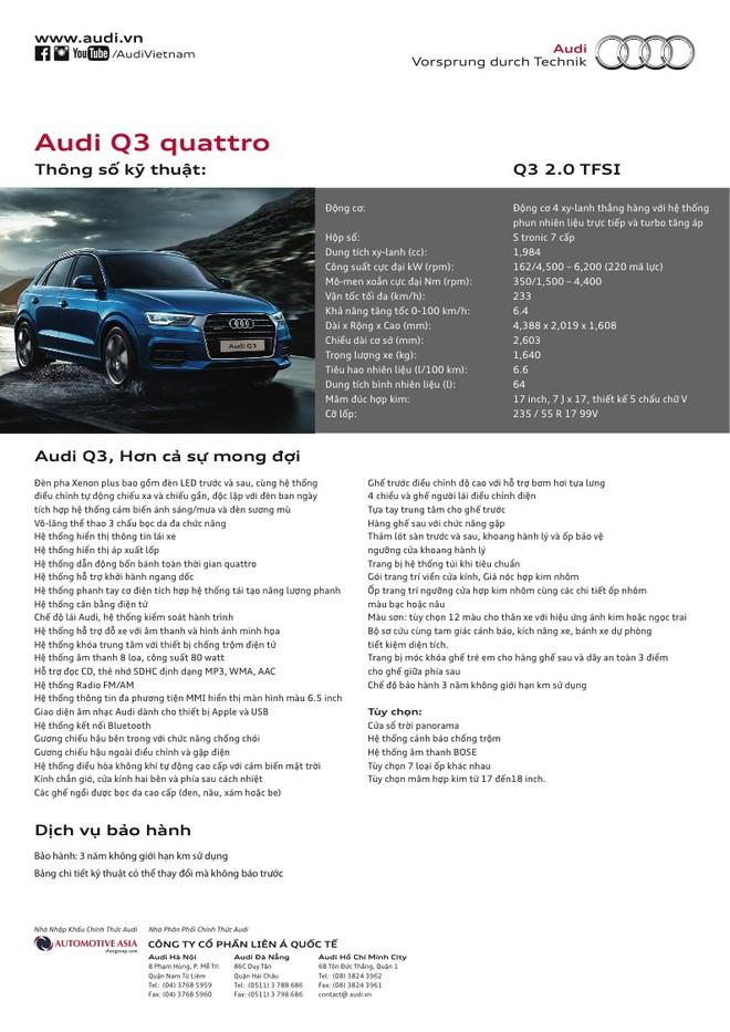 Thông số kỹ thuật chi tiết của Audi Q3 2018