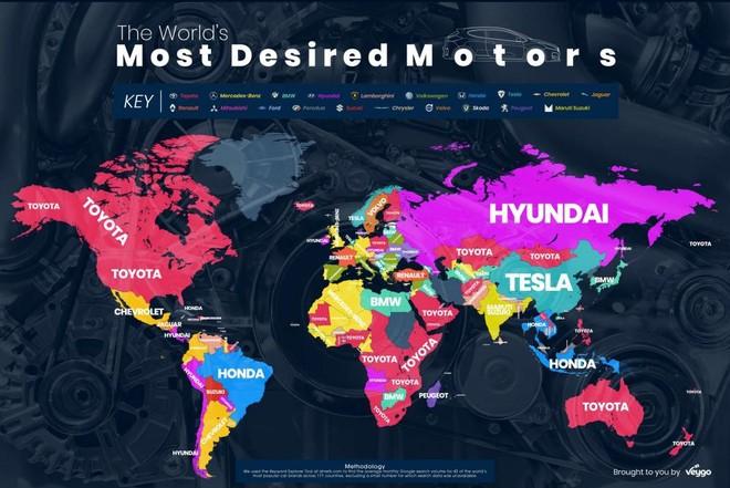 Các nhãn hiệu ô tô được tìm kiếm khao khát nhiều nhất trên thế giới theo từng khu vực, quốc gia bởi Veygo