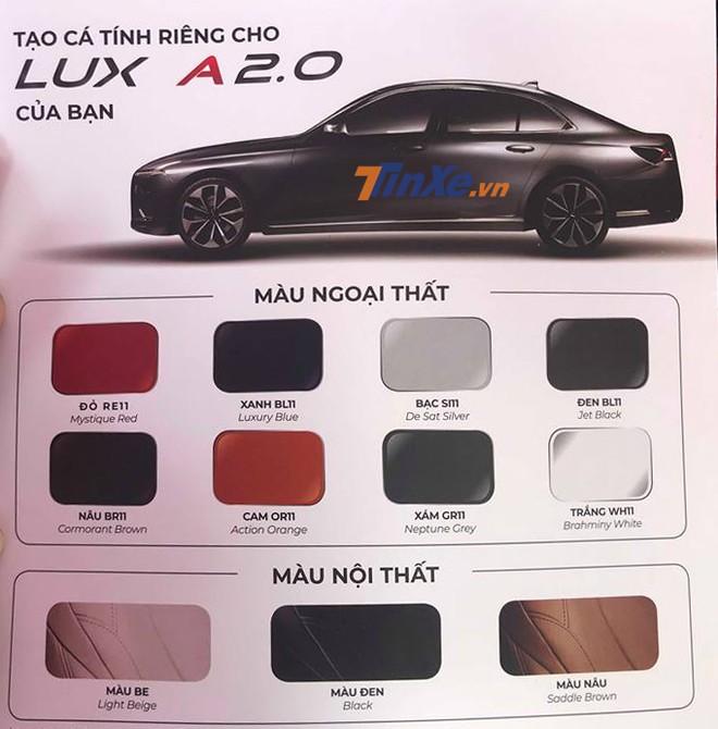 Các tùy chọn màu ngoại thất và nội thất của VinFast LUX A2.0