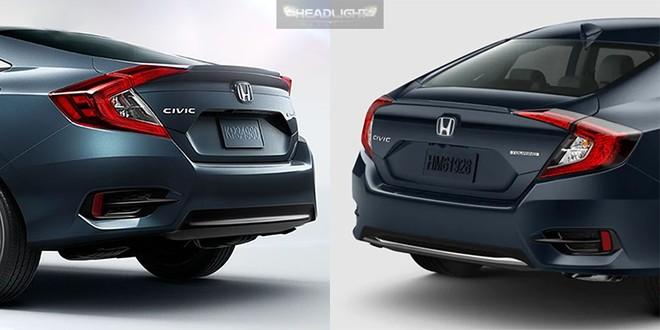 So sánh đuôi xe của Honda Civic cũ (bên trái) và phiên bản 2019