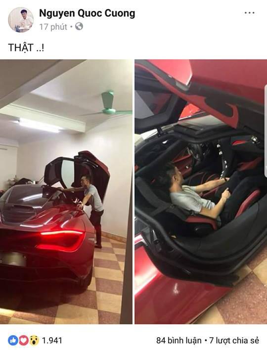 Cường Đô-la chia sẻ hình ảnh chiếc McLaren 720S màu đỏ lên trang cá nhân