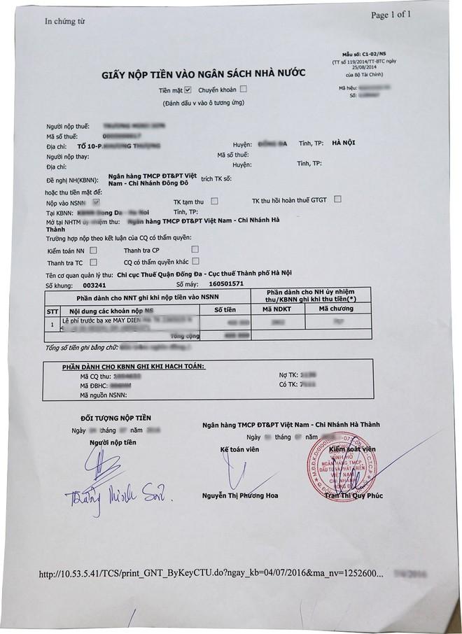 Tờ khai nộp thuế trước bạ dành cho xe máy điện