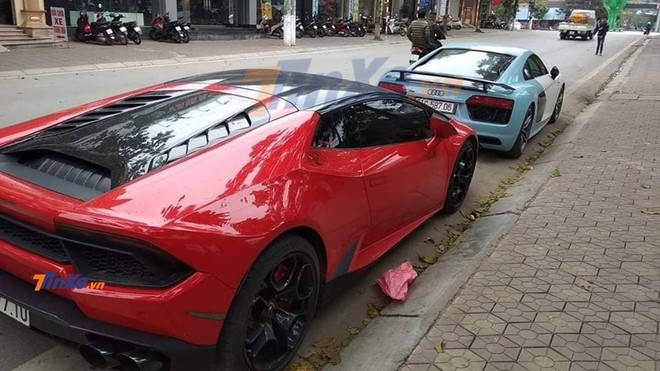 Tóm gọn Audi R8 V10 PLus và Lamborghini Huracan chuẩn bị tham dự lễ ăn hỏi của Cường Đô la tại Lạng Sơn